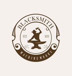 Classic blacksmith background and badge vector
