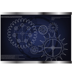 Cogwheels on a blue vector