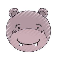 Color crayon silhouette face of male hippo animal vector