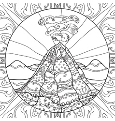 Coloring page with volcano vector image