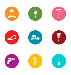 construction of the house icons set flat style vector image