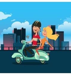 Couple riding scooter cartoon vector image