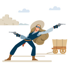 cowgirl in a robbery with two revolvers wild west vector image