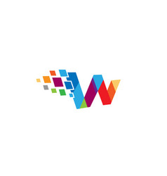 creative w letter pixel logo design symbol vector image