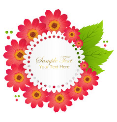 cute congratulation postcard with red flower vector image