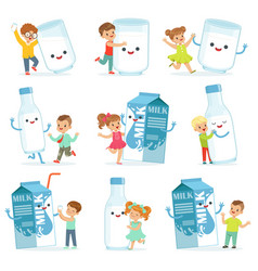 Cute little children having fun and playing with vector