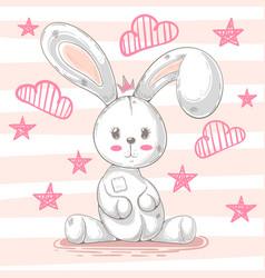 Cute teddy rabbit - cartoon vector