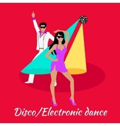 Disco and Electronic Dance Concept Flat Design vector