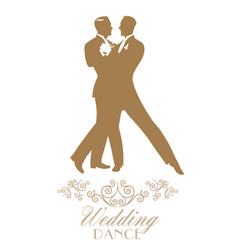 Elegant groom and groom dancing the wedding dance vector