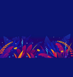 exotic tropical plants in jungle night vector image