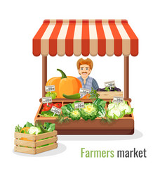 Farmers market promo with man at counter full of vector