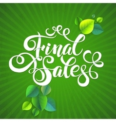Final sales summer promotion calligraphical vector