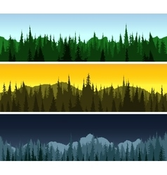 Forest panorama set vector