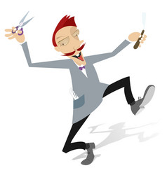 funny cartoon barber with scissors and razor illus vector image
