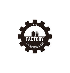 Gear spoon and fork factory restaurant logo vector