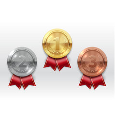 gold silver bronze medals champion winner award vector image