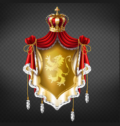 golden royal coat arms with crown vector image