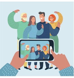 group of friends taking a photo with smartphone vector image