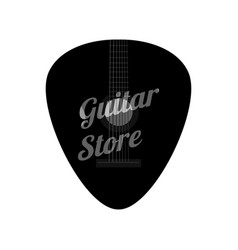 guitar pick in flat style music store logo vector image