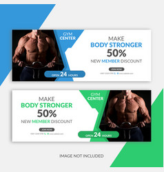 gym facebook cover template vector image
