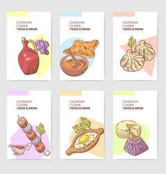 Hand drawn georgian food brochure template vector