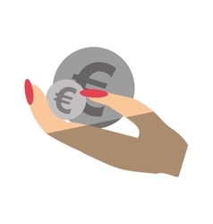 Hand human with coins euro isolated icon vector