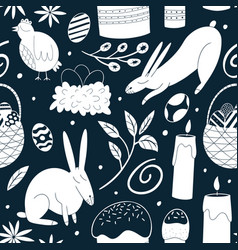 happy easter seamless pattern spring holiday vector image