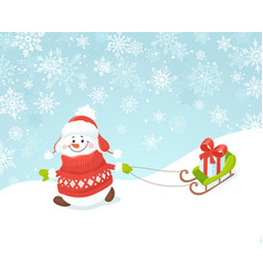happy snowman with sled vector image