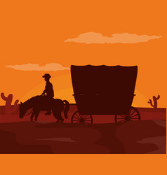 Horse with carriage at desert vector
