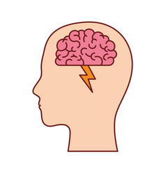 Human face silhouette with brain with ray in vector