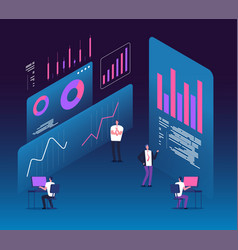 Investment strategy isometric concept people with vector