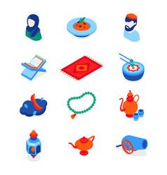islamic holiday - modern isometric icons vector image