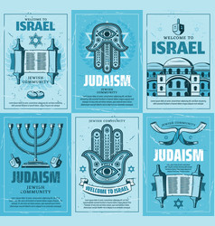 Israel menorah jewish religion torah david star vector