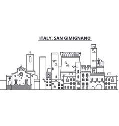 Italy san gimignano line skyline vector