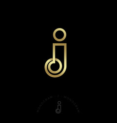 J monogram logo gold curled element jewelry beauty vector