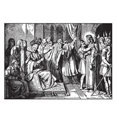 jesus is mocked herod before being sent back vector image