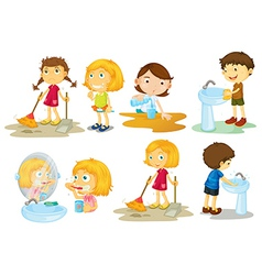Kids engaging in different activities vector