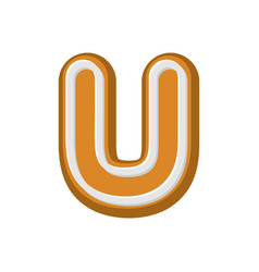 Letter u gingerbread peppermint honey-cake font vector