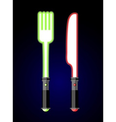 Light cutlery Knife and fork in style of future vector