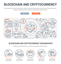 Linear banner blockchain and cryptocurrency vector