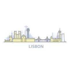 lisbon cityscape - old town view city panorama vector image