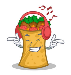 Listening music kebab wrap character cartoon vector