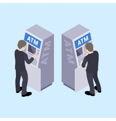 Man in black suit near the ATM vector image