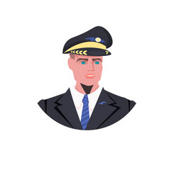 man pilot in uniform male captain avatar aviation vector image