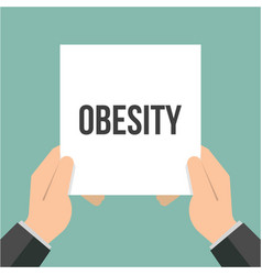 man showing paper obesity text vector image