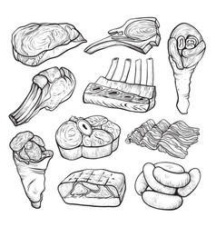 Meat and sausage product line art sketch vector