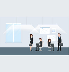 modern office interior with workers poster vector image
