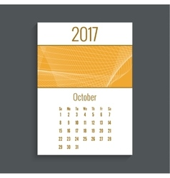 Monthly calendar for 2017 vector image