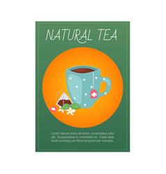 natural tea green indian and ceylon organic tea vector image
