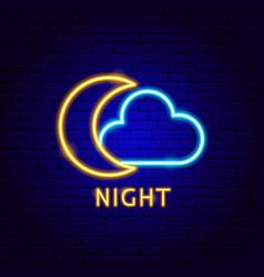 night cloud neon label vector image